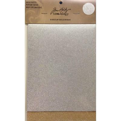 Tim Holtz Idea-Ology Surfaces - Adhesive Deco Sheets - Bronze Silver - 8 Pack