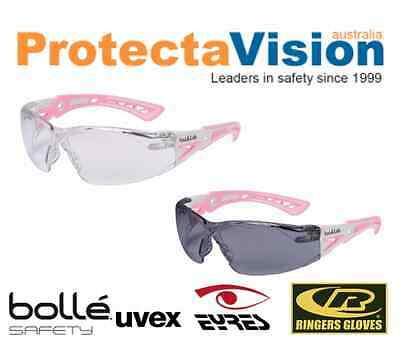 Bolle Rush Plus Safety Glasses Pink and White Frame Small Clear/Smoke Lens