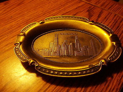 Metal Ashtray  Says Chicago Measures Roughly 5 1/4 X 4 Inches