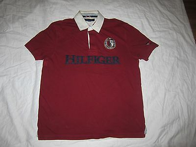 VINTAGE Tommy Hilfiger Maroon Jersey Size Large Shirt Polo Sport NO 8 90s Rare!