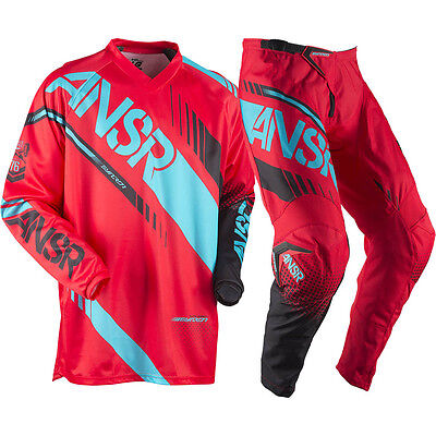 Answer 2017 Mx NEW Syncron Jersey Pants Red Teal Dirt Bike Motocross Gear Set