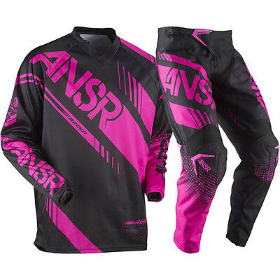 Answer 2017 Youth Mx NEW Syncron Black Pink Jersey Pant Girls Motocross Gear Set