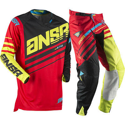 Answer 2017 Mx NEW Alpha Jersey Pants Red Acid Yellow Black Motocross Gear Set