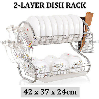 AU STOCK New Plated Steel 2 Layers Chrome Dish Rack Cup Drying High Quality
