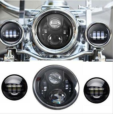 7inch LED Projector Daymaker Headlight & 2x LED Passing Light For Harley Touring