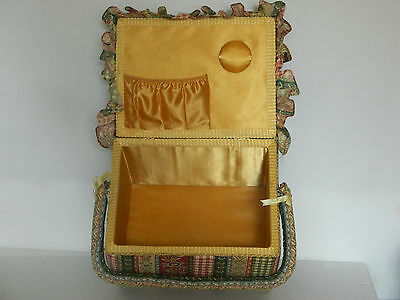 Beautifully Padded Floral Fabric Cane Sewing Basket W/ Gold Satin Inlayd