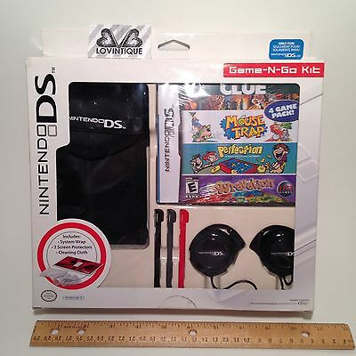 Nintendo DS lite Bundle Starter Kit Case Protector Stylus Headphones Clue Game
