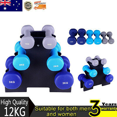 12kg Dumbbell Weights Rack 6 Hand Exercise Fitness Gym Dumbells Exercise Home