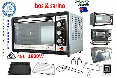 BOS & SARINO 1800W Fan Forced Convection Rotiserie Portable Roast Grill Oven 45L