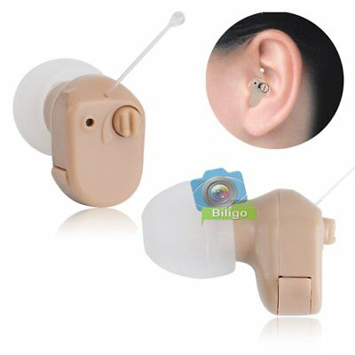 2pcs Hidden Mini In Ear Hearing Aid Adjustable Amplifier Audiphone & Battery【UK】