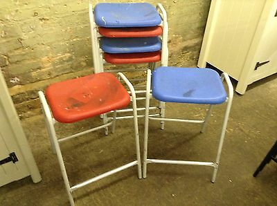 6 Vintage Retro Old School Science Lab Art Room Stacking Stools Industrial Chic • £120.00