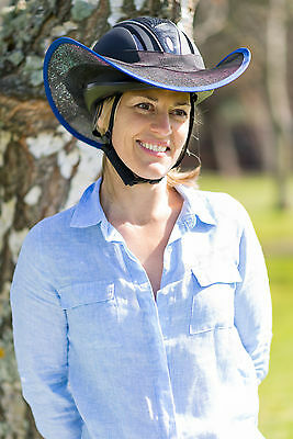 """""""new"""" Western Style Horse Riding Helmet Shade In Black With Royal Blue"""