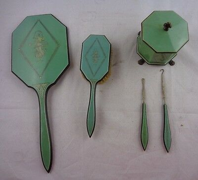 Vtg Lucite Empire Art Deco Hand Mirror,Powder Box,Green Grecian Goddess Lot of 5