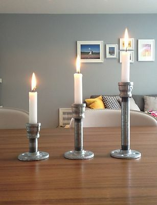 3Pcs Set Industrial Rustic Pipe Iron Candle Holder Table Wedding Silver Color