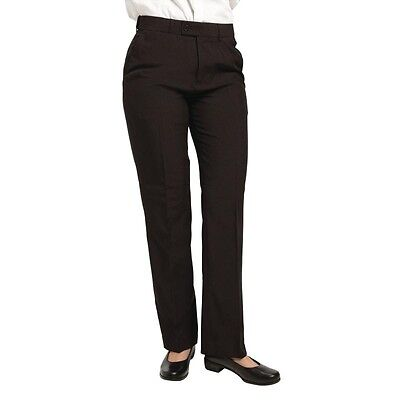 Ladies Black Waiting Trousers Black Work Smart Pleated Trousers Size 16
