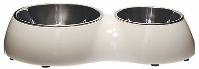 Catit Double Diner Cup Cat Dog Feeding Eating Food Water White