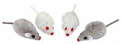 Kerbl Grey-White Mice Mouse Fun Play Pet Cat Toy , 5 cm, 4 Piece