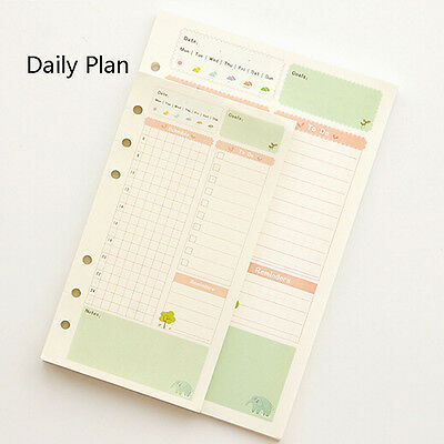 A5/A6 Daily Colourful Planner Diary Insert Refill Schedule Organiser 45Sheet #Y5