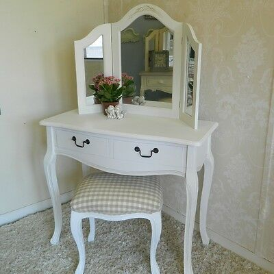 White Dressing Table Mirror and Stool Set French Shabby Bedroom Furniture Chic
