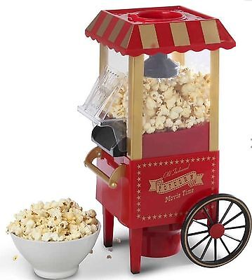 Retro Carnival Popcorn Maker Fat-Free Hot Air Popper Machine With 5 Free Boxes