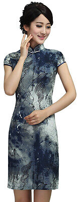 Women Chinese Dress Qipao Cheong-sam Grey Navy Black Linen Blend Scroll Painting