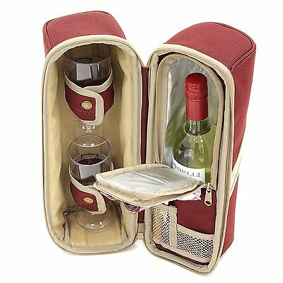 Greenfield Collection Deluxe Two Person Wine Cooler Bag - Mulberry Red