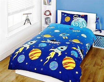 Rapport Rockets Planets Outer Space Childrens Fun Duvet Set Junior Single Double