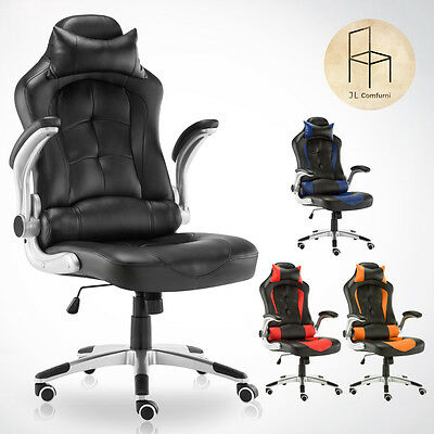 Luxury Sports Racing Gaming Chair Rocking Office Computer Swivel High Back Pu