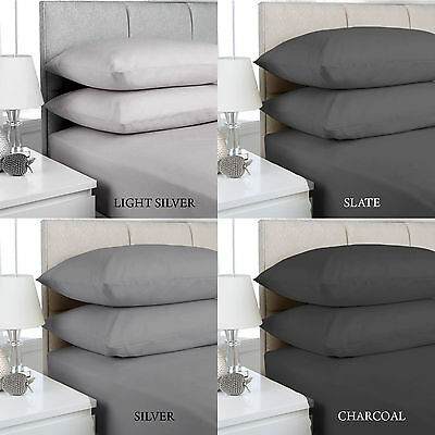 "Extra deep Fitted Sheets 16""/40CM Deep Finest Quality Silver, Slate, Charcoal"