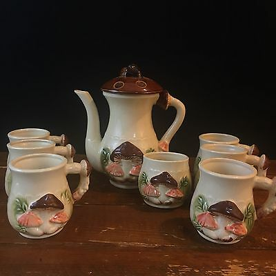 Vtg Mushroom Coffee Pot - 6 Cups And Open Sugar - Japan
