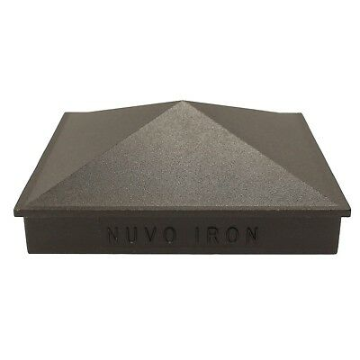 "NUVO IRON 3.5"" x 3.5"" PYRAMID ORNAMENTAL ALUMINIUM POST CAP Fencing PCP02 BLACK"