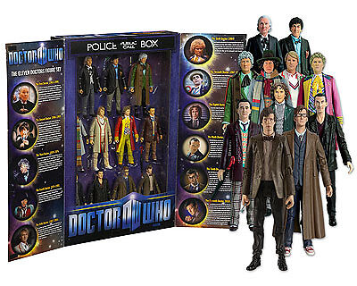 """Doctor Who 5"""" Box Set: Eleven (11) Dr Action Figures in Display Box"""