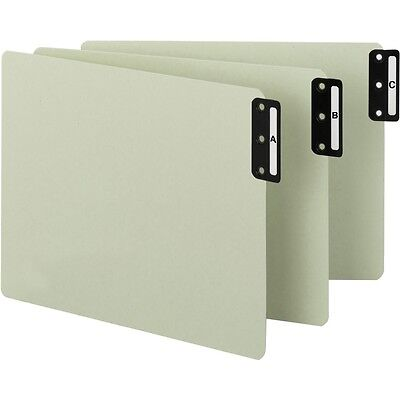 End Tab 100% Recycled Pressboard Guides, Vert.Tab Wide, Letter, Grn-25pk(61676)