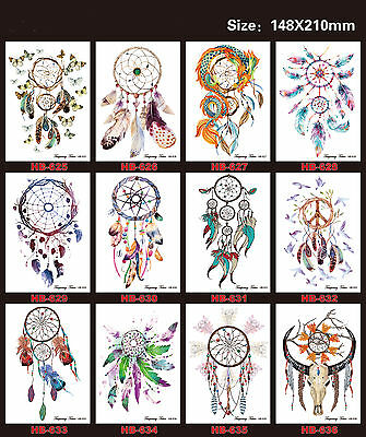 12 Sheets Temporary Tattoos Body Large Arm Art Fake Tattoo Stickers Waterproof