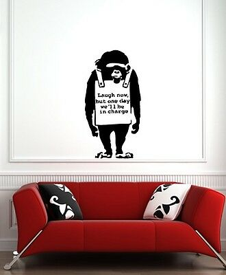 "WALL - Chimp - Laugh Now, But One Day ... Wall Vinyl Decal (22""w x42""h) (BLACK)"