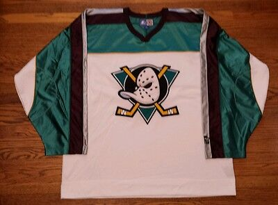 Vintage Starter Anaheim Mighty Ducks White Shinny Home Sewn NHL hockey  jersey XL 16e768c61