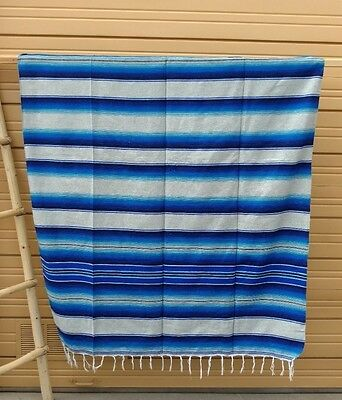 Serape XXL,5' X 7',Mexican Blanket,HOT ROD, Seat Covers,Motorcycle,L Gray & Blue