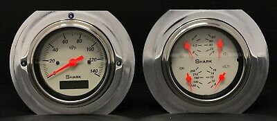 1951 1952 Ford Truck 3 3/8 Quad Gauge Cluster Shark