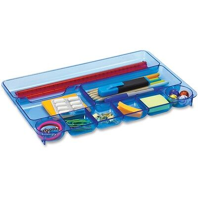 OIC Blue Glacier Drawer Tray, 9 Compartments, Transparent Blue - OIC23216