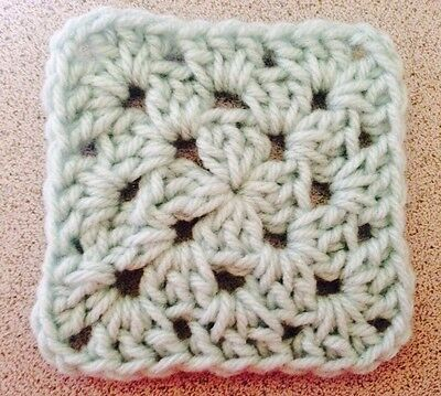 "20 4"" PALE GREEN Hand Crocheted GRANNY SQUARES Afghan Throw Blanket Blocks Pixel"