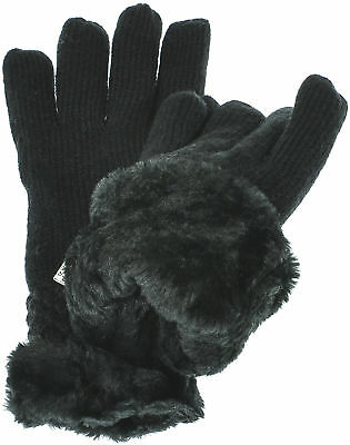 Aprileo Women's Knitted Gloves Solid Cable Faux Fur Lined Cozy Warmth