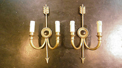 Great Antique French bronze pair of sconces Maison Jansen style Arrows sun