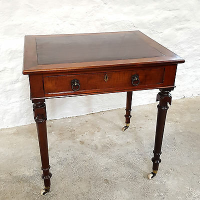 Gothic Style Mahogany Leather Inset Writing / Occasional Table - C1860 Victorian