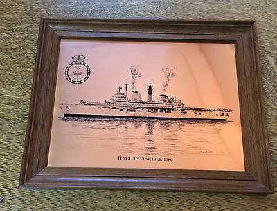 Copper Etching HMS Invincible Royal Navy Aircraft Carrier 1980 Bob Morris Framed