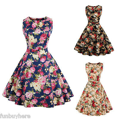 Vintage 50s 60s Retro Swing Dress PLUS SIZE Pin Up Rockabilly Housewife Dress