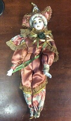 """Geppeddo 16"""" Porcelain Jester Doll Missing Foot Preowned Figurine Decor"""