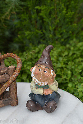 Miniature Dollhouse FAIRY GARDEN Accessories ~ Thoughtful Sitting Gnome ~ NEW
