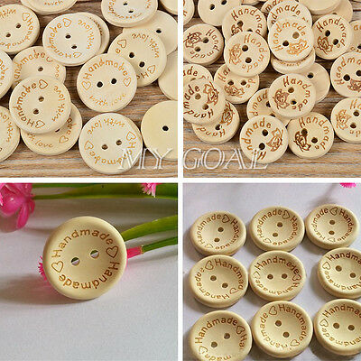 100pcs Natural Wood Handmade Heart 2 Holes Wooden Buttons Sewing Scrapbooking UK