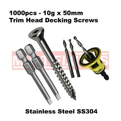 1000pcs - 10g x 50mm Trim Head T17 Stainless 304 Decking Screws + Clever Tool