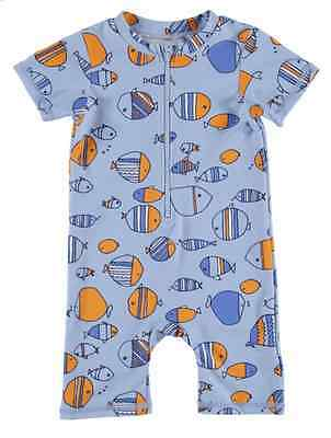 Size 000 ~ MIX BABY ~ Blue 'School of Fish' Zip Front Swim Suit ~ NWT!